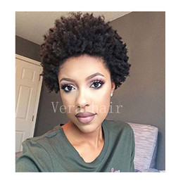 black short bob styles 2018 - Human hair Short Afro Kinky curly None front lace wig for black women with baby hair bob style full lace wigs None lace