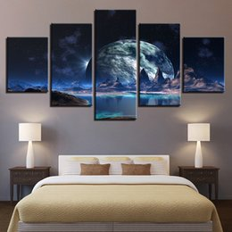 798e7072d Arte da parede 5 Peças Lunar Céu Estrelado Montanha Lago Pinturas HD Prints  Moon Abstrato Pictures Quadro Canvas Posters Home Decor