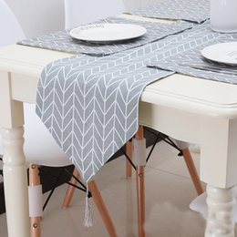 table cloth flags NZ - Modern Geometry Design Table Runner Concise Gray Fabric Art Meal Flag For Home Desktop Kitchen Unique Decoration Tables Cloth 23qc4 Z