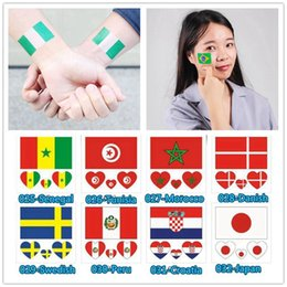 Wholesale World Cup Waterproof Tattoo Sticker Countries National Flag Temporary Tattoo Sticker For Football Match Soccer Fans Arms Face Wrist