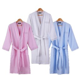 China Women Robe Cotton Bathrobe Men Sleepwear Cotton Waffle Robes Fashion Casual Womens Robes Home Wear High Quality Sexy White supplier cotton waffle bathrobes suppliers