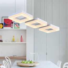 China LED Dining Pendant Lamp Aluminum Acrylic Restaurant Lamp Modern Minimalist Square 3 4 6 9 12 Heads Hanging Line Chandelier cheap white pendant acrylic lamps suppliers