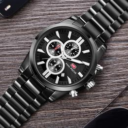 Focus Steel Canada - Men's Watches Top Brand Luxury Stainless Full Steel Chronograph Men Quartz Sports Wrist Watch Male MINI FOCUS Black Analog Clock