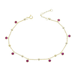 anklet feet girls NZ - 925 sterling silver cz drop anklet foot jewelry gold plated beaded chain cz station elegance women girl gift chain anklet 21+5cm