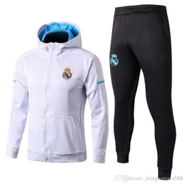 Chinese  best quality Hooded 2017 2018 real madrid tracksuit jacket KITS 17 18 RONALDO BENZEMA BALE MODRIC KROOS football hooded sweater kits manufacturers