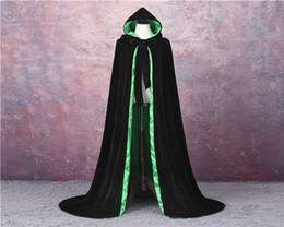 Nylon Coating Australia - Velvet Hooded Cloak Wedding Cape Halloween Wicca Robe Wicca Robe Wedding Cloaks Wedding Bridal Wraps Bridal Coat Jacket
