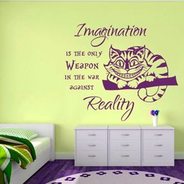 weapon lights NZ - Removable Cheshire Cat Alice in Wonderland Imagination is the only Weapon Wall Sticker for Living room bedroom home decoration