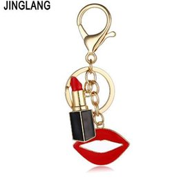 keychains for women handbags 2019 - JINGLANG Fashion Gold Color Metal Keyring Dangle Red Enamel Lipstick Mix Mouth Charms Keychains For Women Luxury Handbag