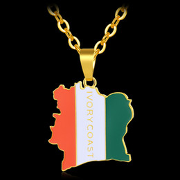 gold pendant d NZ - Trendy COTE D IVOIRE Map Flag Gold Color Pendant Necklaces for Coate d'Ivoire Map Jewelry Bijoux Femme