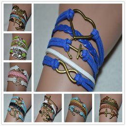 Woven Wrap Anchors NZ - 100% hand-woven infinity heart anchor love peace anchor bead owl bracelet women men wrap bangles Leather Rope Alloy Jewelry friendship gift