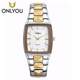 $enCountryForm.capitalKeyWord NZ - Men Watch ONLYOU Brand Luxury Glow Square Clock Stainless steel Strap Sport Wristwatch Lover's party Horloges Vrouwen Free Ship