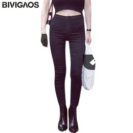 $enCountryForm.capitalKeyWord Canada - BIVIGAOS Hot Sale Fashion Euramerican High Waist Elastic Jeans Thin Skinny Pencil Pants Sexy Slim Hip Denim Jean Pants For Women