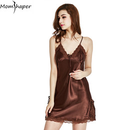 Sleepwear pyjamas women Home Clothing Nightgowns Lace robe V-neck Nightgown  Silk Satin Night Dress sexy lingerie women Home Suit 0473953be