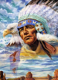 $enCountryForm.capitalKeyWord Australia - American Indian Chief Portrait Art Canvas Handpainted Portrait Oil Painting On Canvas Soux Indians Red Indian Multi Sizes Wc016