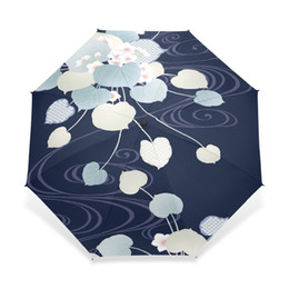 China National Style Early Spring Flowers Pattern Women Rain Sun Umbrella 3 Folding 8 Rib Sunshade Wind Resistant Frame Lady Umbrellas suppliers