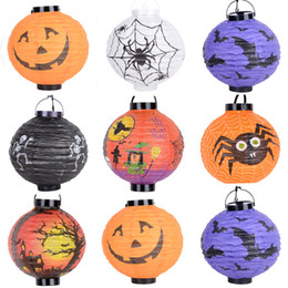 Festival light up toys online shopping - Light Up Halloween pumpkin Lantern Festival paper lantern lamps waterproof in white Color lanterns Hallowmas paper lantern kids toys