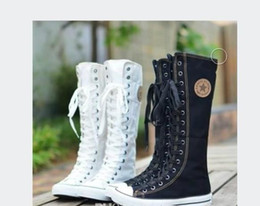 $enCountryForm.capitalKeyWord NZ - 2018New arrival girls lace-up knee high boots female students canvas boots women casual boots ladies Stage shoes girls flat heel shoes