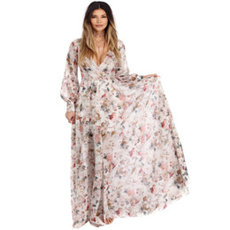 Summer Boho Floral Print Long Chiffon Dress Women Beach Dress Long Sleeve V  neck Maxi Dresses Plus Size XXXL 5725305e32f9