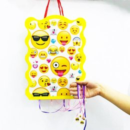 baby shower party themes NZ - 40*30cm set kids birthday party supplies emoji cartoon theme paper pinata disposable baby shower smile party decoration favor