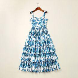 $enCountryForm.capitalKeyWord UK - European and American women's wear autumn 2018 The new cascading Blue rose print Condole belt dress