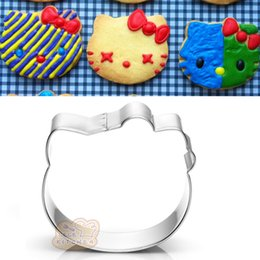 Kitty cupcaKes online shopping - 10pcs KT cat head cookie cutter kitty Metal biscuit tool Fruit die cut Sushi stamp sandwich mold baking cake pastry tools cupcake topper