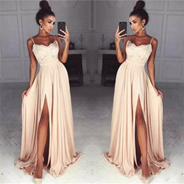 cheap nude chiffon bridesmaid dresses 2019 - 2018 Cheap Chiffon Long Spaghetti Straps Lace Evening Dresses Side Split Sexy Cocktail Party Dress Custom Made Cheap Bri