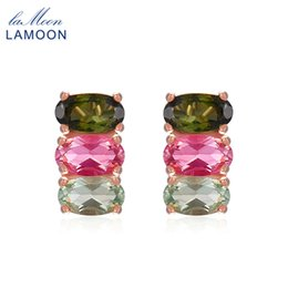 Multi Tourmaline Australia - LAMOON Classic 100% Natural Multi-Color Oval Tourmaline 925 Sterling Silver Jewelry S925 stud Earrings LMEI035 Y18110110