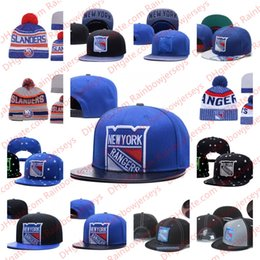 Cream York NZ - New York Rangers Snapback Caps Embroidery Ice Hockey Knit Beanies Adjustable Hat Blue White Gray Black Stitched Hats One Size for All
