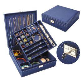 $enCountryForm.capitalKeyWord Canada - wholesale Wooden Multilayer Flannelette Jewelry Box Earring Bracelet Casket For Decoration Jewelry Storage Box Makeup Organizer