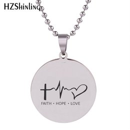 faith hope love pendants 2019 - 2018 New Faith Hope Love Lifeline Pendant Hand Craft Stainless Steel Necklace Art Round Jewelry Ball Chain For Men HZ7 c