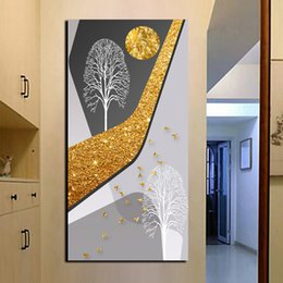 golden tree oil painting NZ - Free Shipping Large HD Prints Posters Picture Abstract On Canvas Modern Printed Golden Moon Tree Birds Landscape Oil Painting
