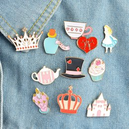 metal alice 2019 - Magic Hat Castle Tea Cup Teapot brooch Crown Love heart Cartoon Cat Wonderland Enamel Pin Alice Brooches Crown Metal Pin