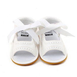 girls sandals new styles 2019 - Delebao 2018 New Style Baby Girl Shoes White PU Leather Dot Lace Lace-up Rubber Sole Newborn Baby Sandals Wholesale chea