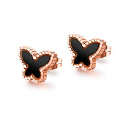 holiday gold UK - Butterfly Lady Stud Earrings Titanium Steel Rose Gold Color Earrings Student Earrings Holiday Gifts