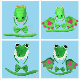 $enCountryForm.capitalKeyWord Australia - 3D Crocodile Dinosaur Headband Bow Tie Tail Cosplay Animal 3pcs Set Kids Adults Halloween Performance Props Party Favors