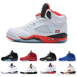 red duck shoes UK - 5s INTERNATIONAL FLIGHT White Cement Mens Basketball Shoes Oregon ducks OG Black Metallic red blue Suede Fire Red Sports Sneakers