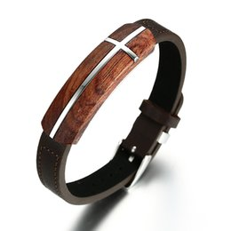 Wholesale Men Bracelets Scented Rosewood Tag Genuine Leather Bracelet in Brown Adjustable Stainless Steel Belt Buckle Wristband Jewelry