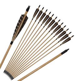 wooden archery bow Canada - Archery 32'' Wooden Arrows Shield Shape Pheasant Feathers with Replacement Broadhead Screw-in Tips for Recurve Bow Hunting Shooting Outdoor