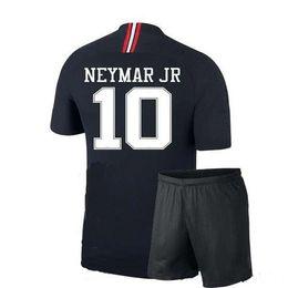 843d1923 Лига чемпионов ПСЖ детский футбол комплект 18 19 Неймар младший MBAPPE  футбол Джерси брюки тайский качество мальчика открытый спорт тренировочные  наборы ...