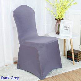 Banquets Chairs Canada - spandex chair cover Dark Grey colour flat front lycra stretch banquet chair cover for wedding decoration wholesale on sale