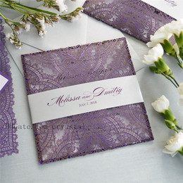 $enCountryForm.capitalKeyWord Canada - PURPLE LACE Laser Cut Wrap Invitation - Square Laser Cut Wedding Invitation with Ivory Insert, Envelope and Ivory Belly Band
