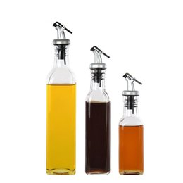 wholesale bottle glass oil vinegar UK - Dust Proof Thicken Oil Bottles Clear Lead Free Glass Sauce Vinegar Bottle For Home Kitchen Accessories 3 2yt3 ff