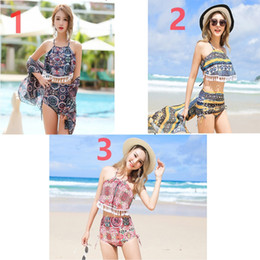 Discount korean swimsuit blue - 3 Style Hot spring bathing suit three-piece high waist split bikini Ms. Korean small fresh conservative swimsuit