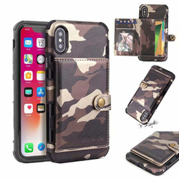 Discount iphone holster card slot - Camouflage PU Leather Wallet Style Full Body Rugged Holster Shockproof Phone Cover With Card Slots For iPhone XS MAX XR