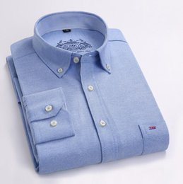 Wholesale white oxford shirt slim resale online – New Men Shirt Long Sleeve Brand Business Casual Oxford Slim Fit Shirts Hot Sale Mens Solid Collar Dress Shirt Social xl