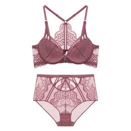65a1e297d4d36 Fashion sexy cross young girls bra set front button push up deep V-neck  lace women hollow out underwear set high waist panties