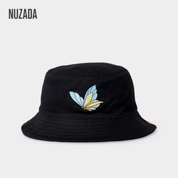 062815c6 NUZADA dome cap double spring summer autumn female fisherman hat  embroidered cotton butterfly outdoor fishing cap