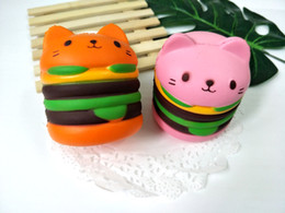 wholesale cat charms NZ - Jumbo Hamburger Cat Squishy Kawaii Charms Squishies Burger Slow Rising Squeeze Soft Phone Straps Other Desk Accessories