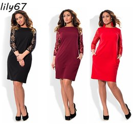 Wholesale Casual XL Plus Size Sexy Dress Summer Dresses Women Lace Dress Long Sleeve hollow out Dress Loose High Quality Vestidos de festa