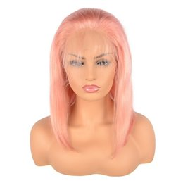 Chinese  Brazilian Short Pink Wigs Lace Front Wigs with Baby Hair Natural Hair Line Full Lace Human Hair Wigs for black Women manufacturers